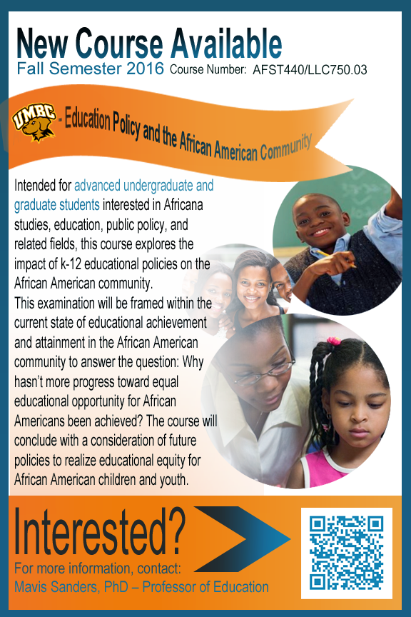 New Fall 2016 Course: Education Policy and the African American Community